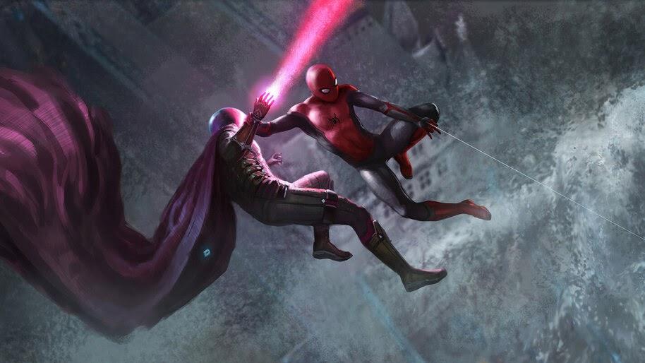 Spider Man Vs Mysterio Art Spider Man Far From Home 4k