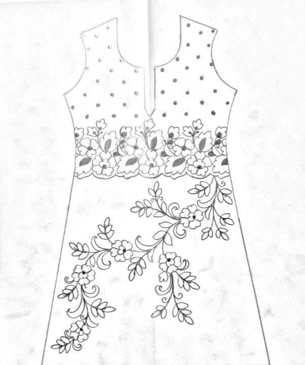 how to draw women salwar kameez easy drawing, embroidery kameez designs