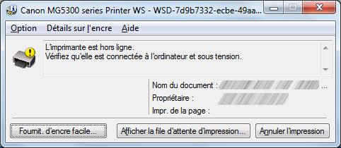 capture d'écran Windows - imprimante hors ligne