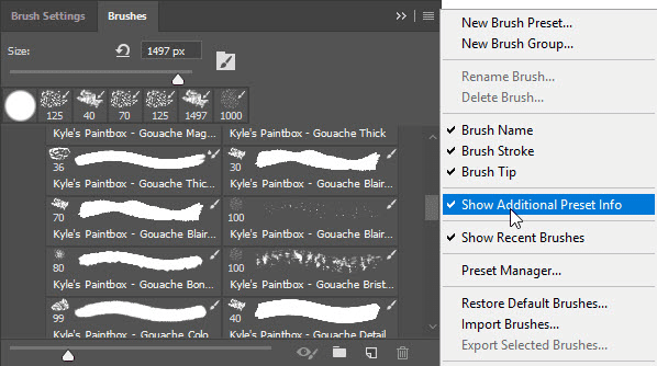Show Additional Preset Info in Photoshop Brushes panel