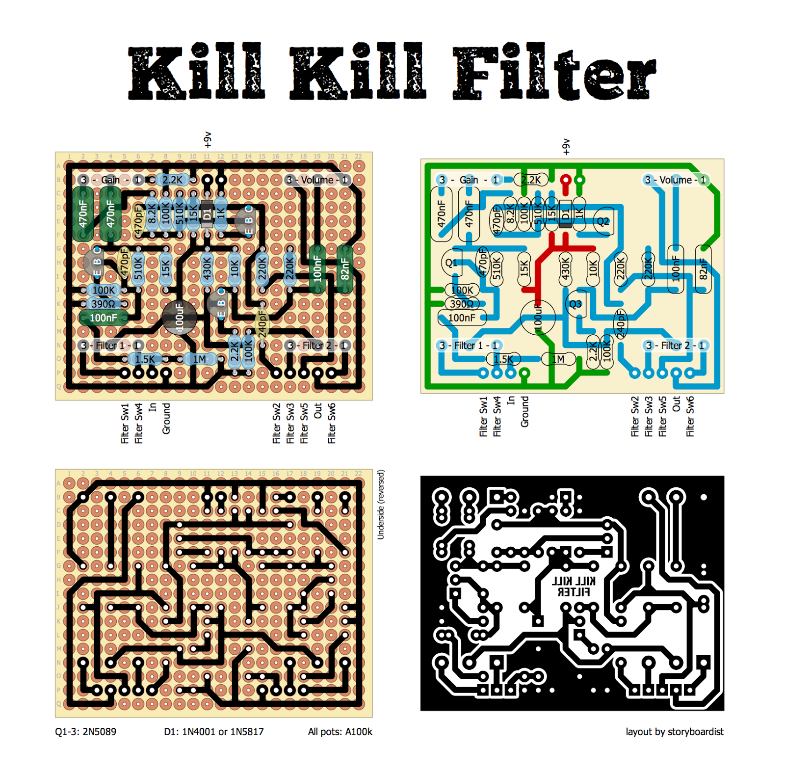 Perf and PCB Effects Layouts: Death by Audio Kill Kill Filter