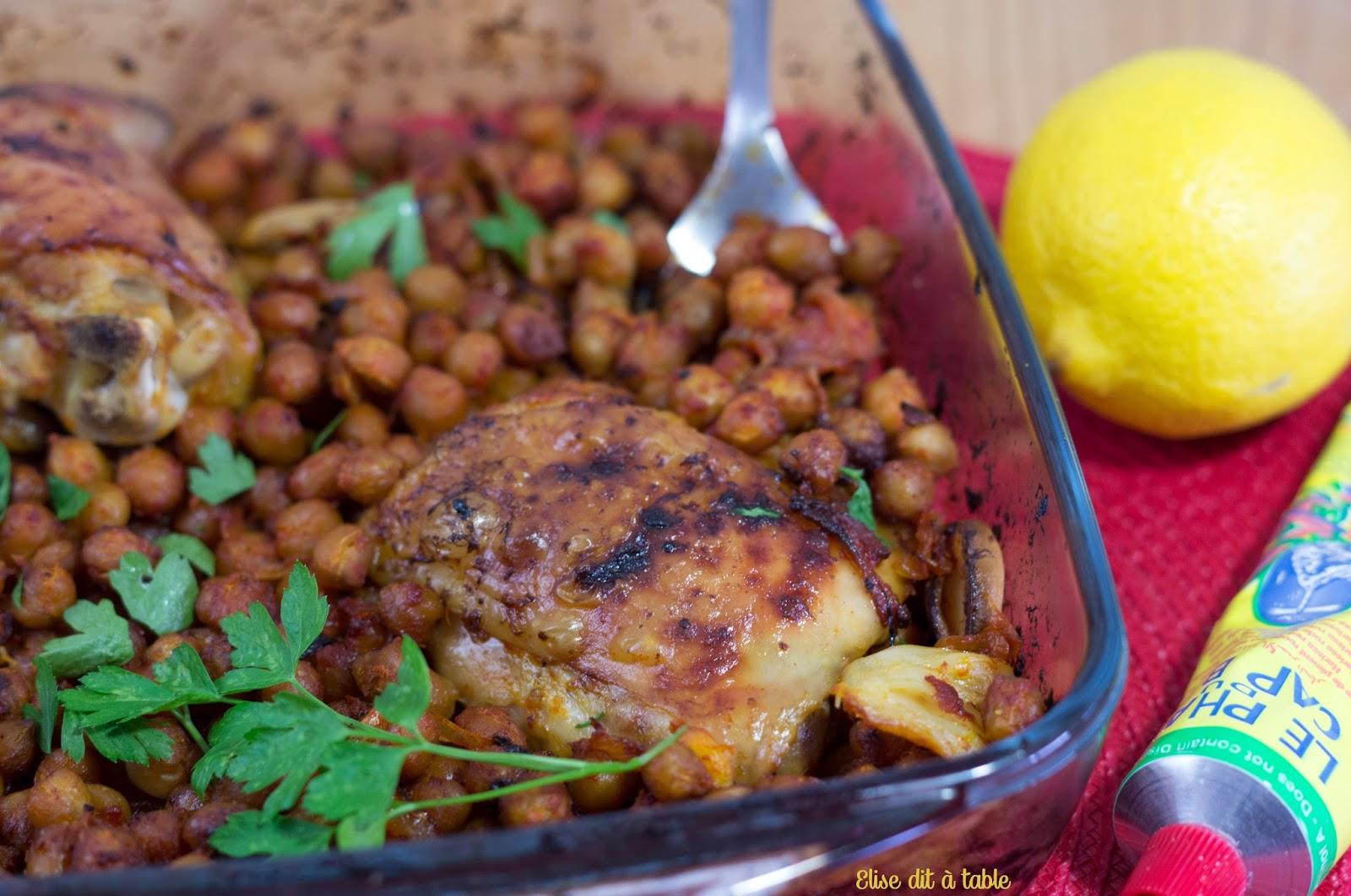 recette Pois chiches et poulet à l'harissa