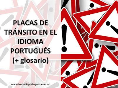 sinais de trânsito, placas de tránsito, portugués, glossário