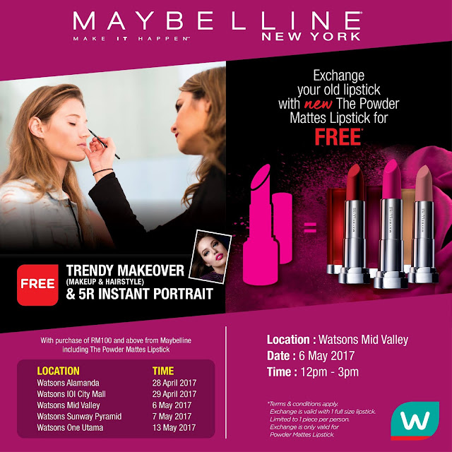 Watsons Malaysia Free Maybelline's NEW The Powder Mattes Lipstick