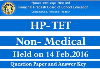 HPTET 2016 Answer Key Non Medical with Question Paper PDF Held on 14 Feb,2016