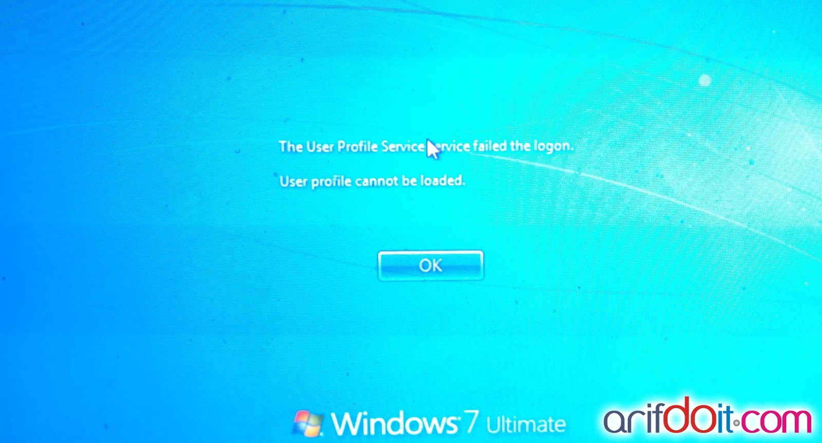 windows 7 unable to login to user profile