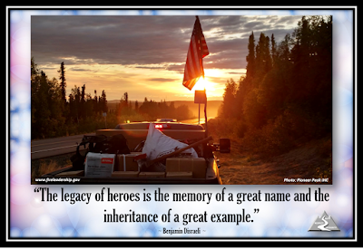 """The legacy of heroes is the memory of a great name and the inheritance of a great example."" ~ Benjamin Disraeli ~  HAPPY MEMORIAL DAY and shoutout to all those supporting operations this holiday.  [Photo: Pioneer Peak IHC] (fire vehicle heading into the sunset; flag in the back)"