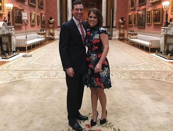 Princess Eugenie wore Erdem Hetty embroidered silk-organza mini dress. Princess Eugenie and Jack Brooksbank got engaged