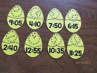 Easter Eggs Telling Time to the 5 Minutes Puzzles FREEBIE