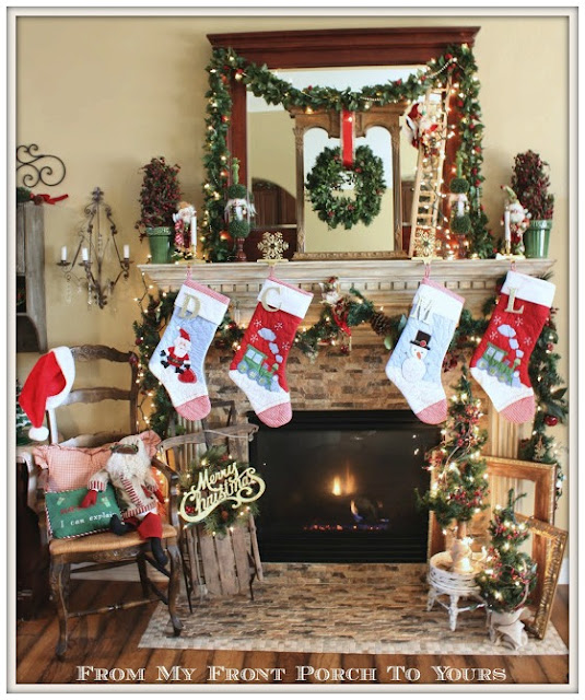 Vintage Sled-Mark Roberts Fairies-Christmas Mantel-Inspiration-From My Front Porch To Yours