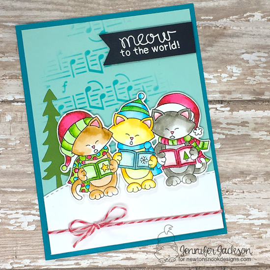 Cat Lovers Blog Hop | Caroling Cats card by Jennifer Jackson | Caroling Newton Stamp Set by Newton's Nook Designs #newtonsnook #handmade