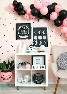 pink and black halloween decorations