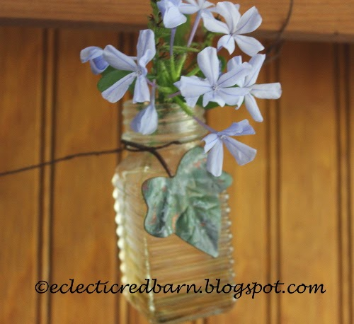 Eclectic Red Barn: Bottle garland with Plumbago and metal leaves