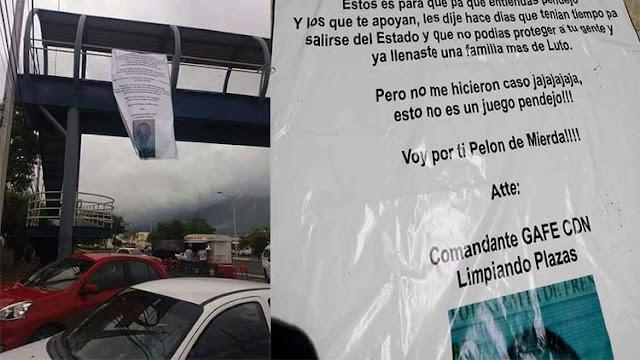 """""""Comandante Gafe CDN limpiando plazas"""" dejan narcomanta en contra del CDG y Zetas en Nuevo León"""
