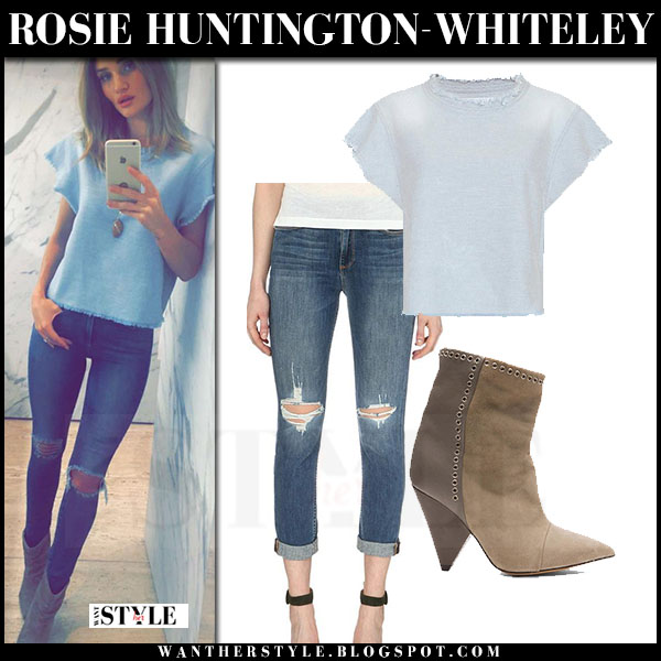 Rosie Huntington-Whiteley in light blue bro florie frayed top and ripped paige jeans what she wore