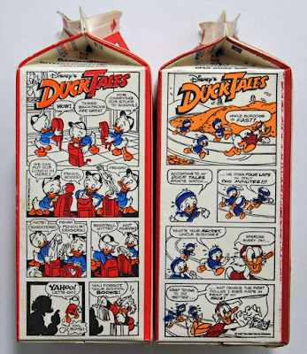 DuckTales comics on the Donald Duck Orange juice cartons