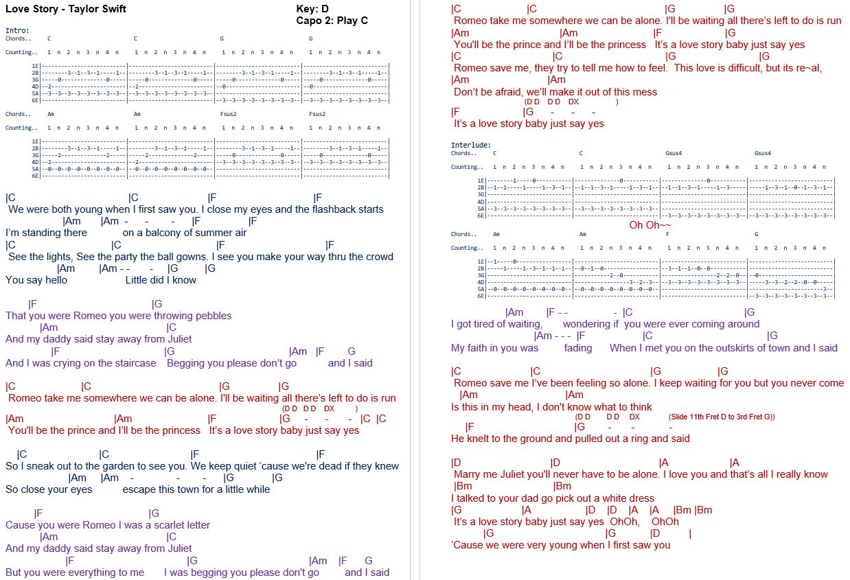 Taylor Swift Guitar Chords Love Story Global Brain Soundsfo
