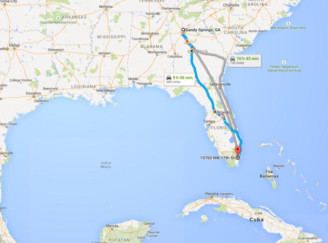 Sandy Springs Georgia to Miami Florida directions Google Maps
