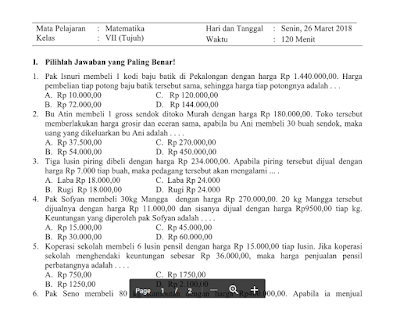 Download Soal PTS UTS Matematika Kelas VII Semester 2