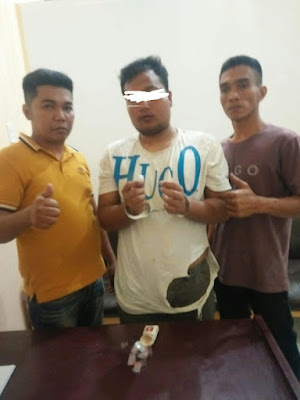 Unit Reskrim Polsek Kota Pinang Ciduk Pria ini Sedang Asyik Menunggu Pembeli