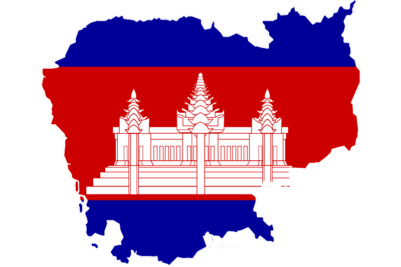 Cambodia Map With Flag