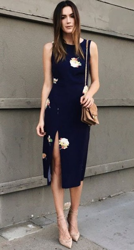 trendy outfit idea with a floral dress : bag and nude heels