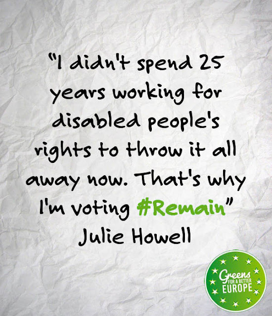 I didn't spend 25 years working for disabled people's rights to throw it all away now. That's why I'm voting to REMAIN. Julie Howell