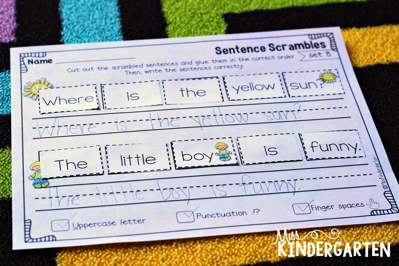 Sentence Building Practice - Miss Kindergarten