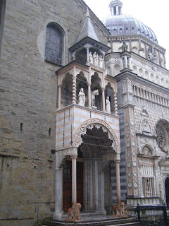 The North Portal of the Basilica of Santa Maria Maggiore, with the Colleoni Chapel next door