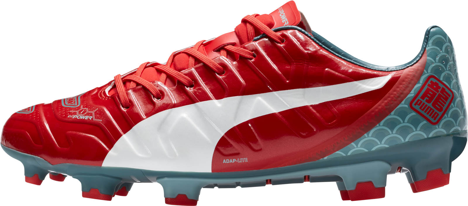 new arrival 11603 2a055 PUMA evoPOWER Dragon Graphic Puma evoPOWER 1.2 Japanese Dragons Boots  Edition Red Light Blue .
