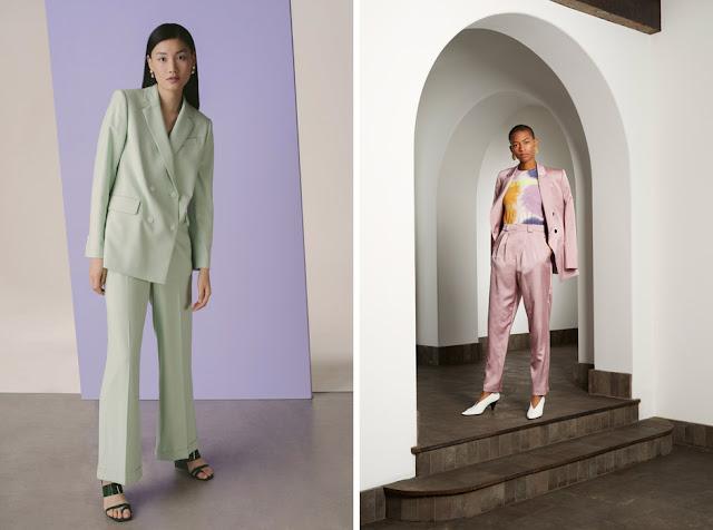 Светло-зеленый и розовый пастельный костюм