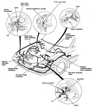 Honda Prelude Wiring Harness Routing And Ground Location