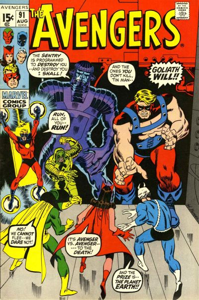 Avengers #91, Ronan, the Sentry and Goliath, Sal Buscema cover