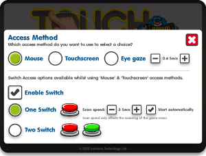 Mouse, Touchscreen, Eye gaze or Switch access options.