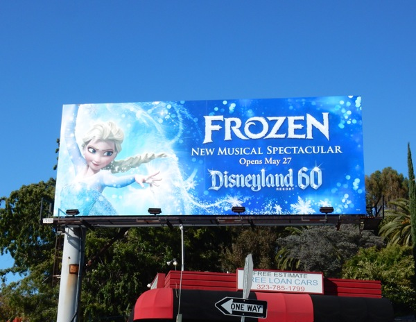 Frozen musical Elsa Disneyland billboard