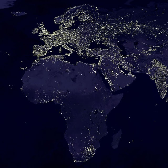 Satellite Photo of Europe and Africa at Night