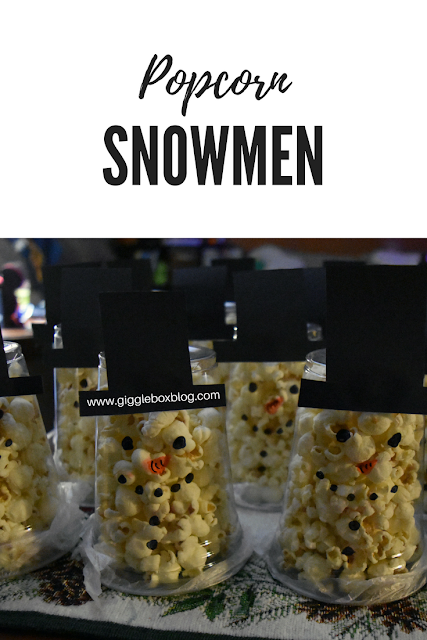 Christmas party treat idea with popcorn, popcorn snowmen, Christmas, Christmas party treat idea,