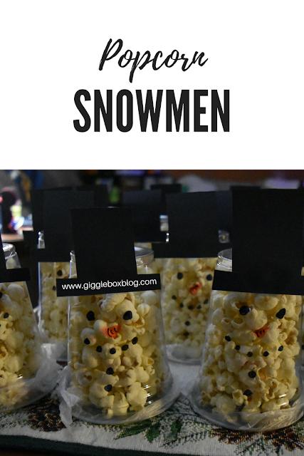 Christmas party treat idea with popcorn, popcorn snowmen, Christmas, Christmas party treat idea,