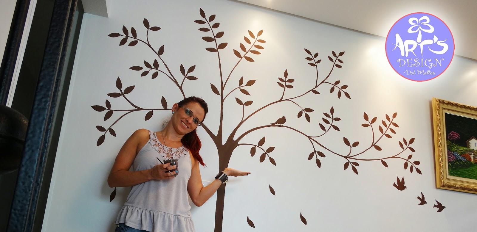 Pintura Artística em Parede Árvore e Pássaros :::