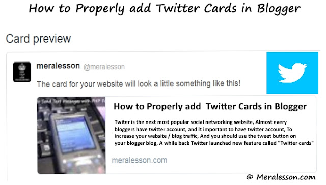 add Twitter Cards in Blogger