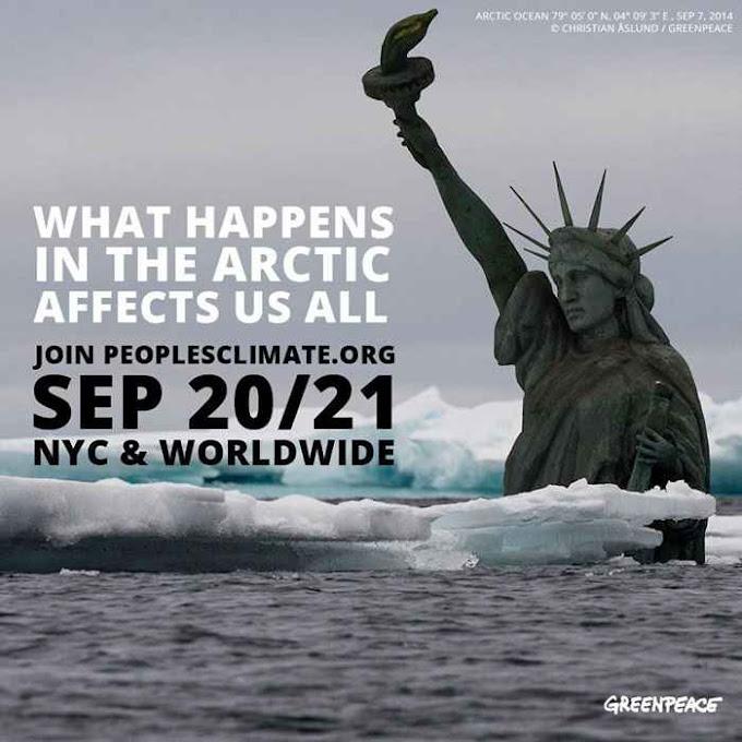 Qualquer exagero vale. Exemplo de alarmismo sobre o Ártico difundido por Greenpeace. Agora que o gelo Ártico cresce fanáticos verdes procuram outro espantalho