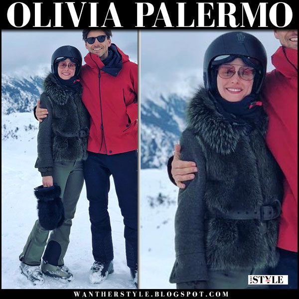 Olivia Palermo in green fur ski jacket moucherotte and green pants moncler grenoble skiing in St. Moritz  snow fashion march 18