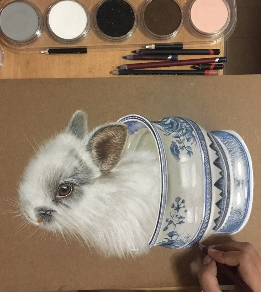 14-Bunny-in-a-Porcelain-Vase-Ivan-Hoo-Animals-Translated-to-Realistic-Drawings-www-designstack-co