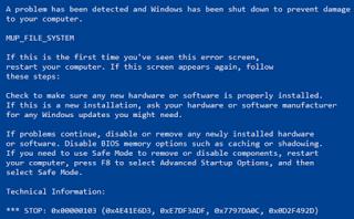 MUP_FILE_SYSTEM Blue Screen Error pada Windows