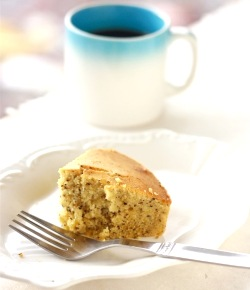 cake recipe made with earl grey tea leaves, bergamot zest, and vanilla paste