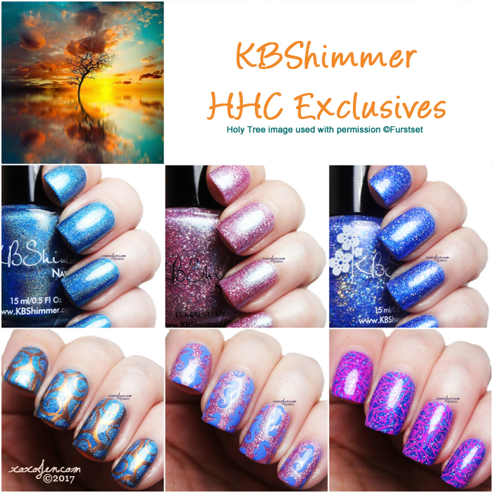 xoxoJen's swatch collage of KBShimmer HHC polishes