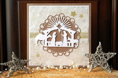 Świąteczne życzenia- kartka z szopką