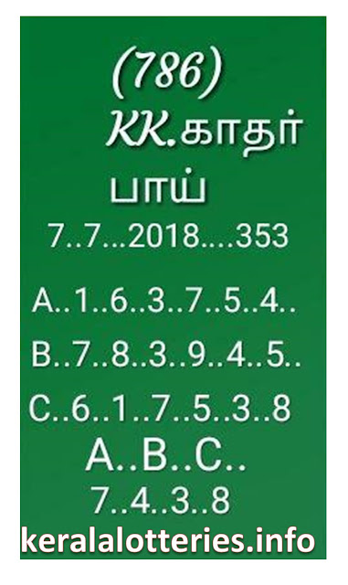 KK Kerala Lottery Guessing abc board numbers  07-07-2018 karunya kr 353