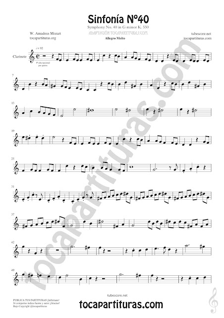 Partitura de Clarinete de Sinfonía Nº40 de Mozart Sheet Music for Clarinet Music Scores