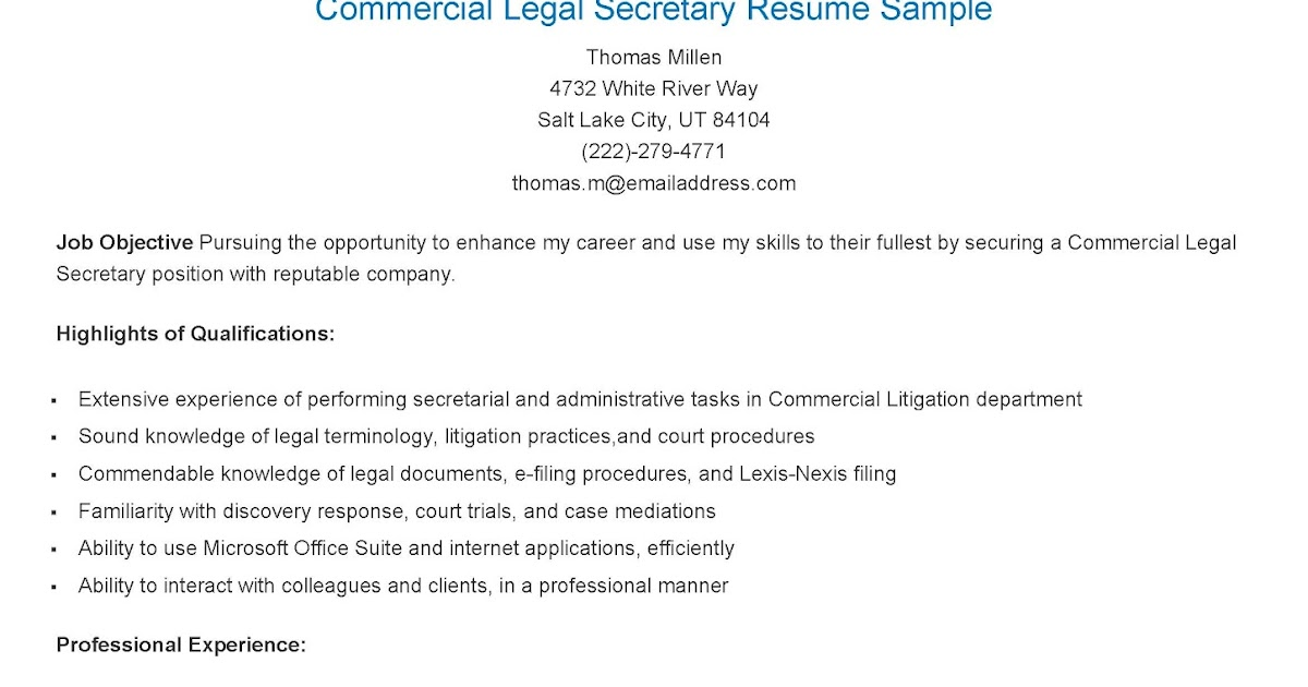 experienced legal secretary resume sample - Legal Secretary Resume